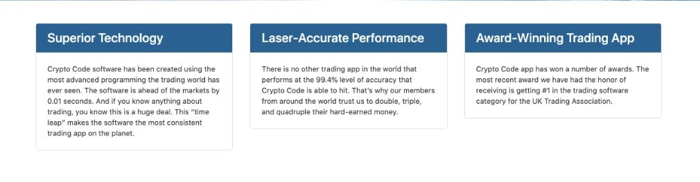 Crypto Code avantage